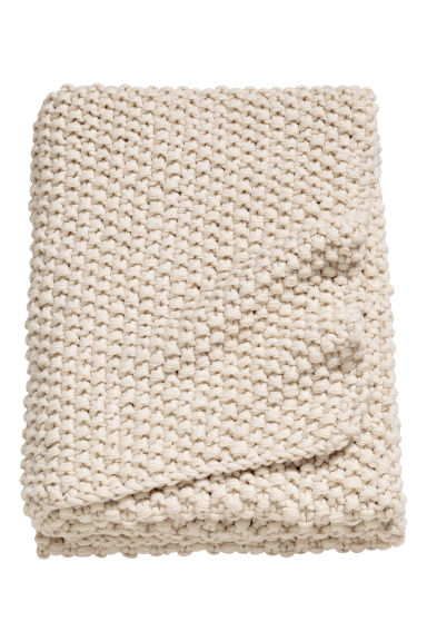 Moss-stitched blanket - Natural white - Home All | H&M GB