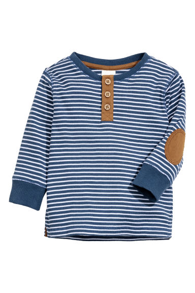 Long-sleeved Henley shirt - Dark blue/Striped - Kids | H&M CN