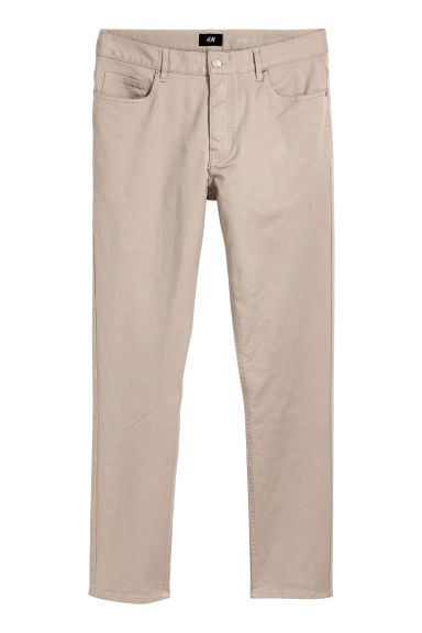 Twill trousers Slim fit - Light beige -  | H&M CN
