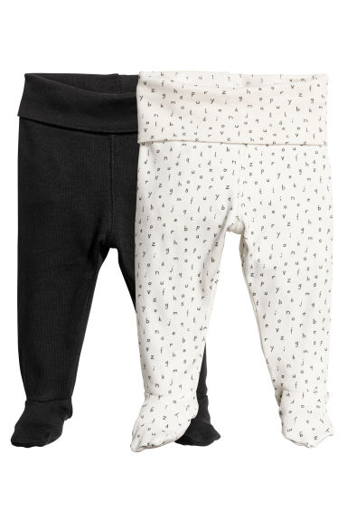 2-pack trousers with feet - Black - Kids | H&M