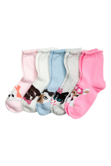 5-pack socks - Light pink/Animal - Kids | H&M