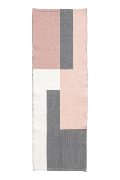 Tapis en coton tissé jacquard - Rose clair/gris - Home All | H&M FR