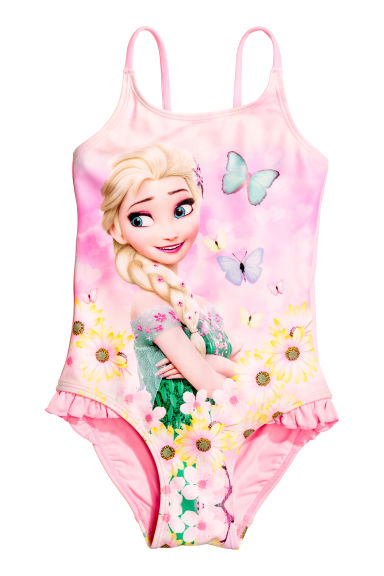 Printed swimsuit - Pink/Frozen - Kids | H&M