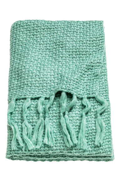 Moss-knit blanket - Turquoise -  | H&M CN
