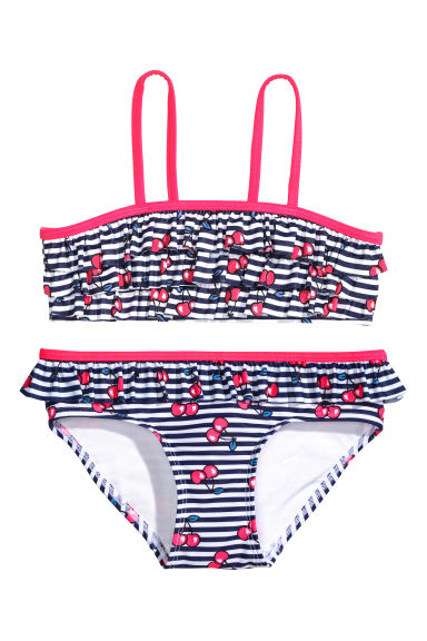 Frilled bikini - Dark blue/Striped -  | H&M CN
