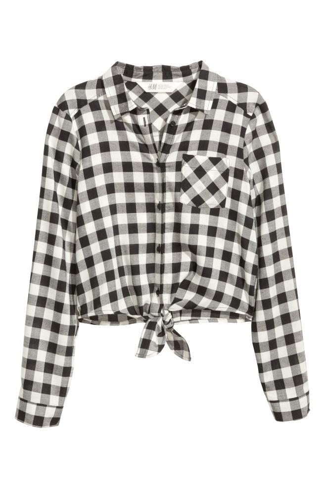 f571553e74457 Tie-front blouse - Black White Checked - Kids