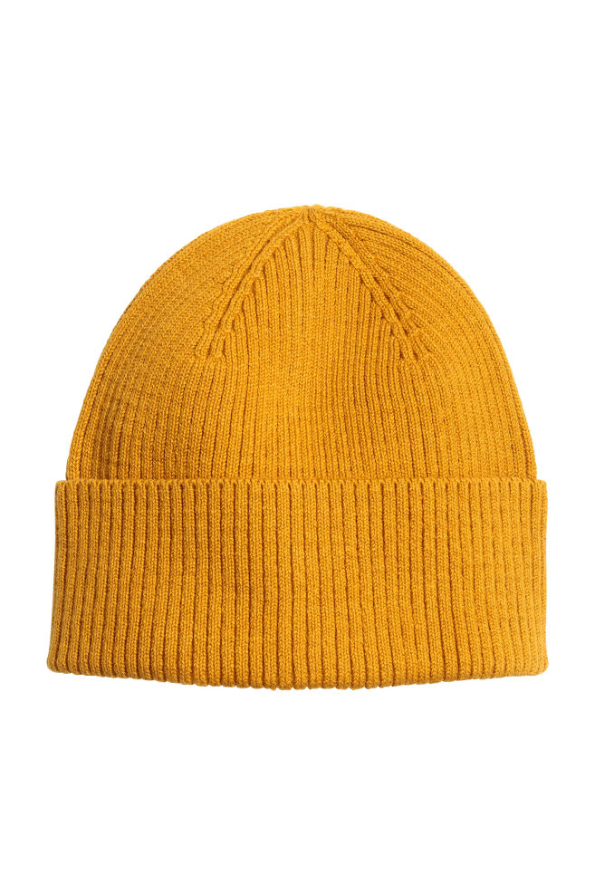 Rib-knit Hat - Mustard yellow - Men  d5ed8801e53