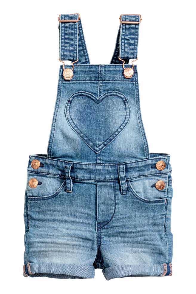 c10cf3a482f9 Denim dungaree shorts - Denim blue - Kids