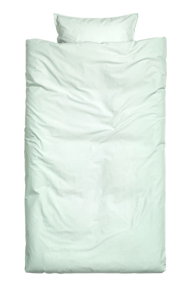 Washed Cotton Duvet Cover Set - Mint green -  | H&M CA