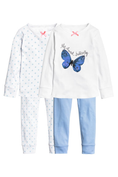 2-pack jersey pyjamas - White/Butterfly - Kids | H&M GB