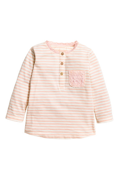 Long-sleeved top - Light pink/Striped - Kids | H&M CN