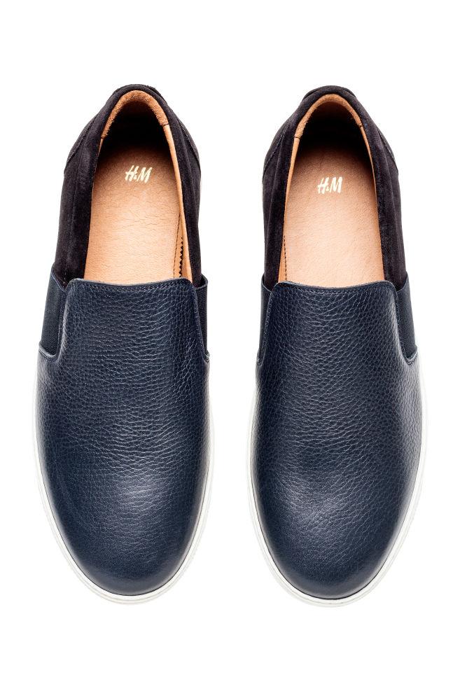 635aa6b5187 레더 슬립온 슈즈 - 다크 블루 - Men | H&M ...