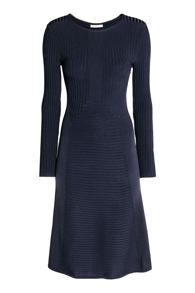 d83185ca45c77e Gebreide jurk - Donkerblauw - DAMES