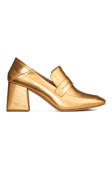 Block-heeled loafers - Gold - Ladies | H&M CN