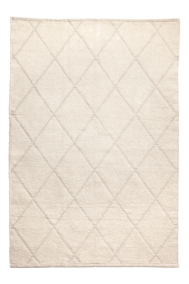 Jacquard-patterned cotton rug - Light beige - Home All | H&M GB
