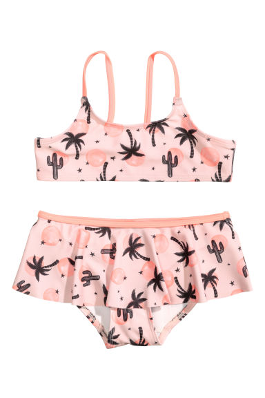 Patterned bikini - Light pink/Palms - Kids | H&M GB