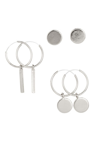 3 pairs earrings - Silver - Ladies | H&M CN