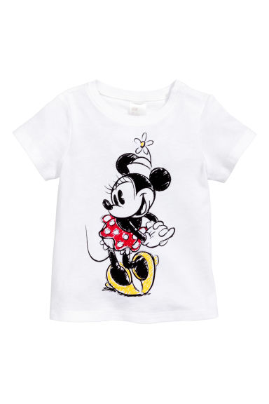 Printed top - White/Minnie Mouse -  | H&M CN