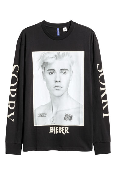 Long-sleeved printed T-shirt - Black/Justin Bieber -  | H&M
