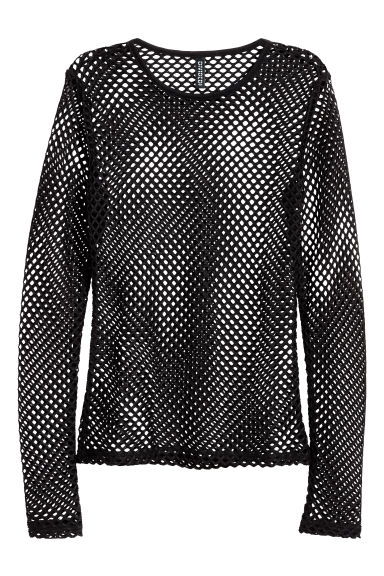 Mesh top - Black -  | H&M