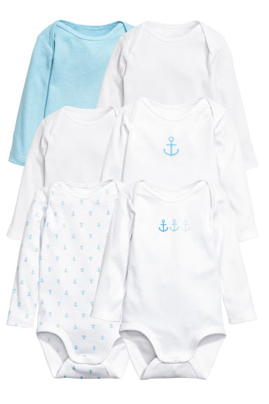 6-pack long-sleeved bodysuits - Light blue - Kids | H&M CN