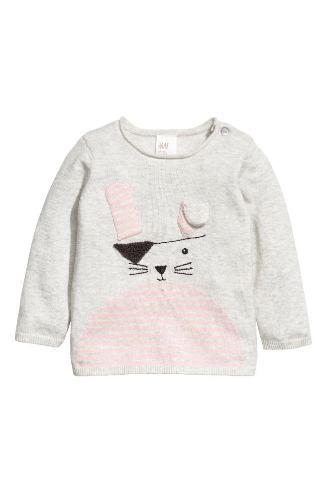 180a9d5f501 Jemně pletený bavlněný svetr - Světle šedý melír - DĚTI