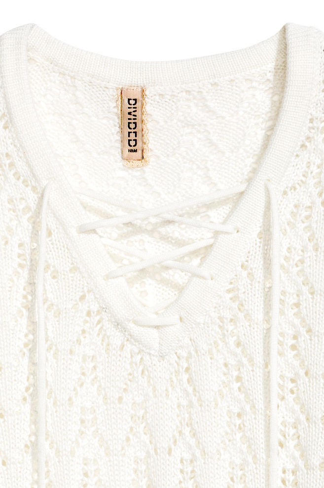 d428b07a595b ... Knitted jumper with lacing - White - Ladies