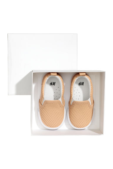 Slip-on leather trainers - Beige -  | H&M CN