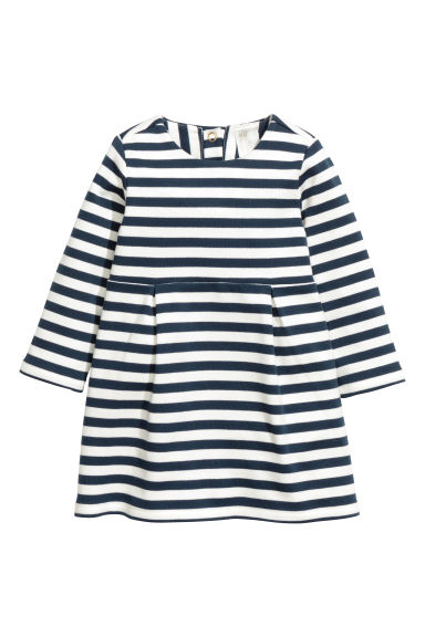 Striped jersey dress - Dark blue/Striped -  | H&M CN