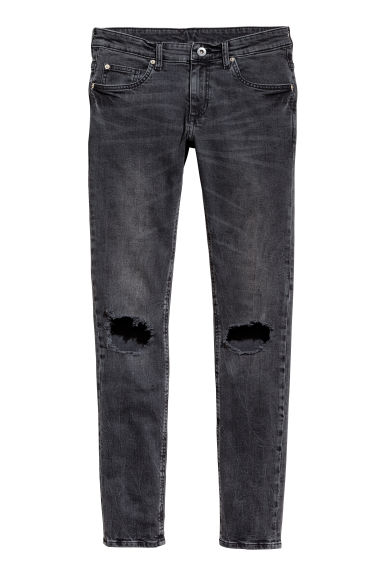 Super Skinny Trashed Jeans - Cinzento escuro washed out -  | H&M PT