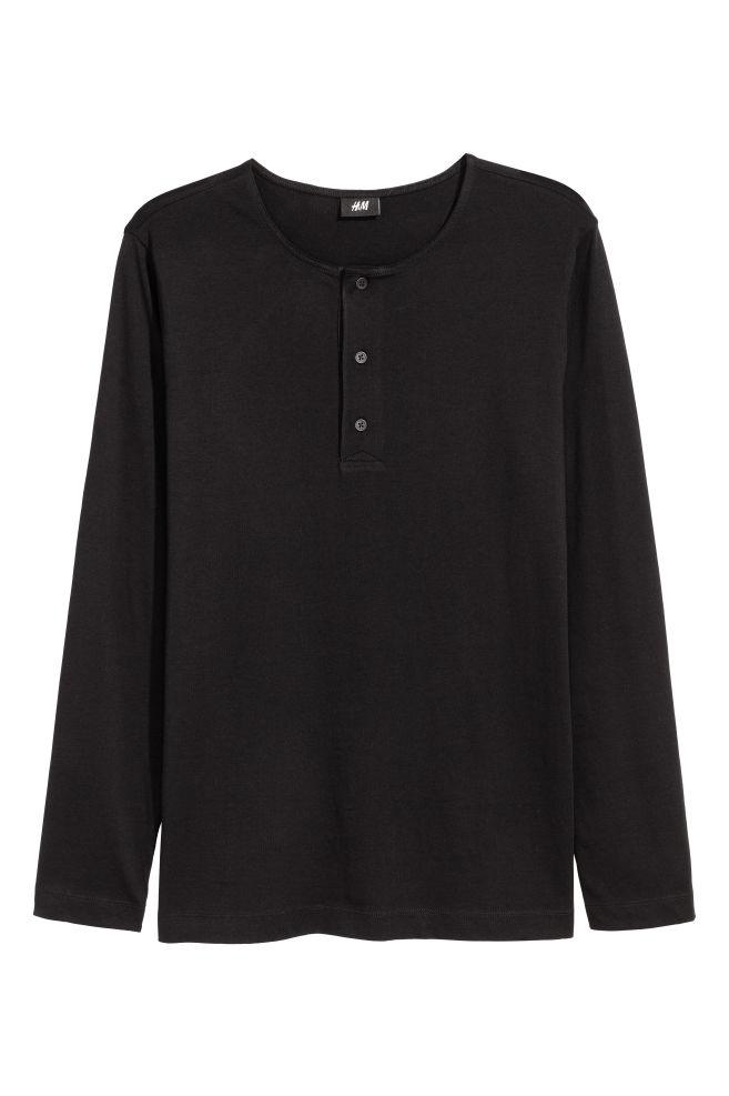 a6be74bbc60 Cotton jersey Henley shirt - Black - Men | H&M ...