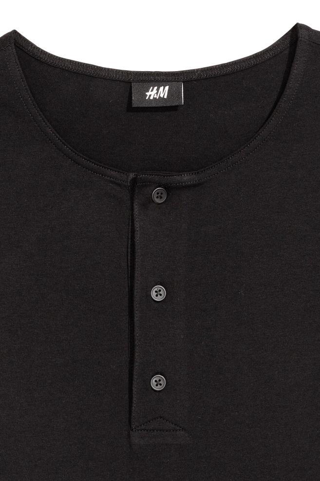 a92f5f91f1b ... Cotton jersey Henley shirt - Black - Men | H&M ...
