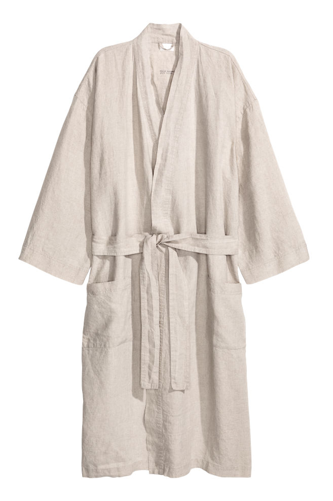 02d58da289 Washed linen dressing gown - Grey beige - Home All