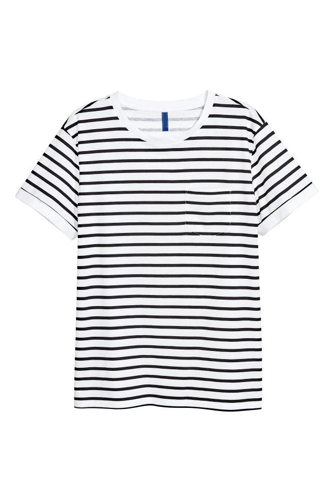 c3bca70e5f T-shirt with Chest Pocket - White/Black striped - Men   H&M ...