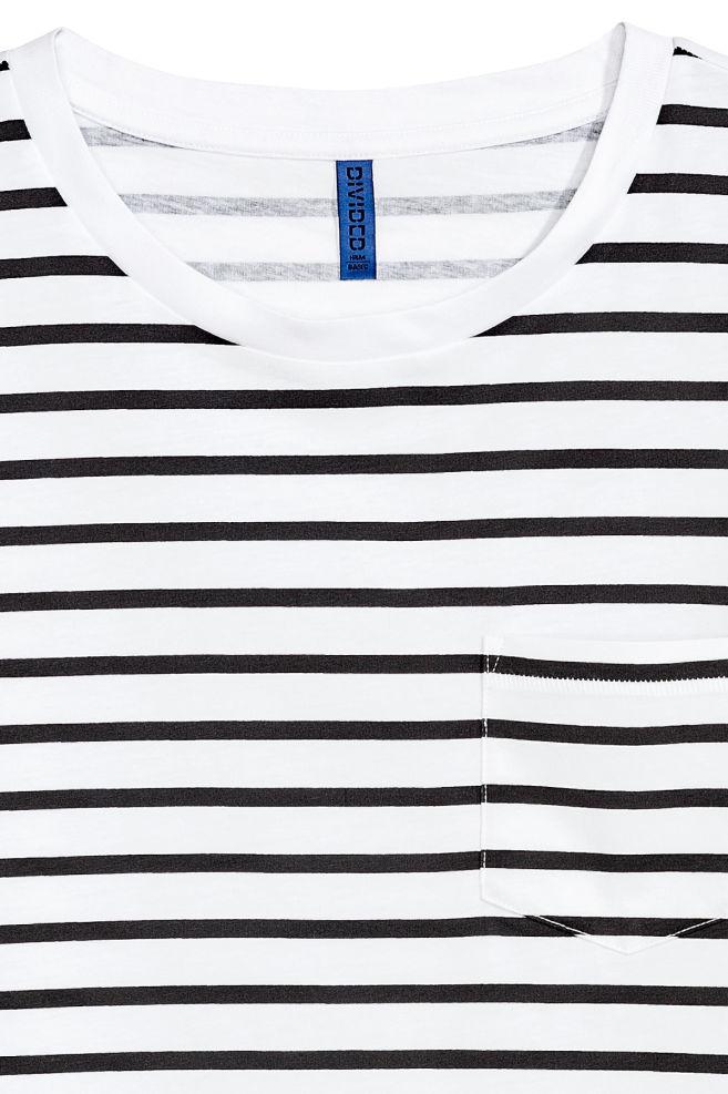 4fc7884600 ... T-shirt with Chest Pocket - White/Black striped - Men   H&M US