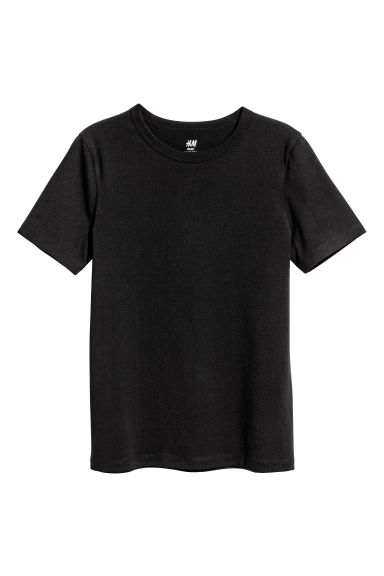 Cotton T-shirt - Black - Kids | H&M