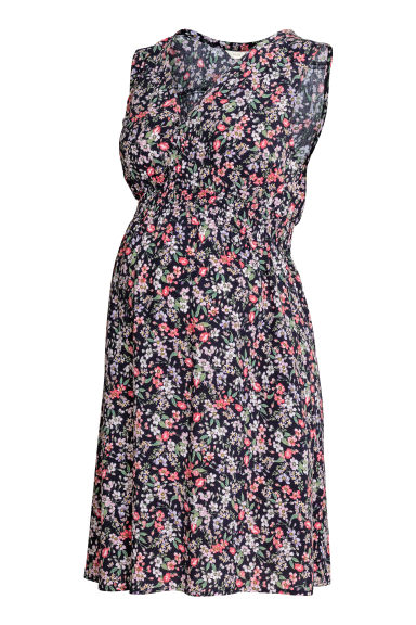 MAMA V-neck dress - Dark blue/Floral -  | H&M