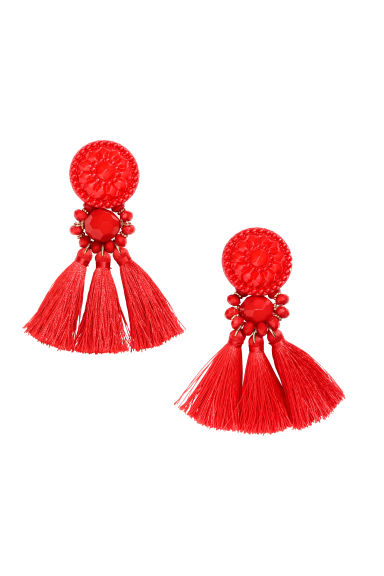 Earrings with tassels - Red - Ladies | H&M GB