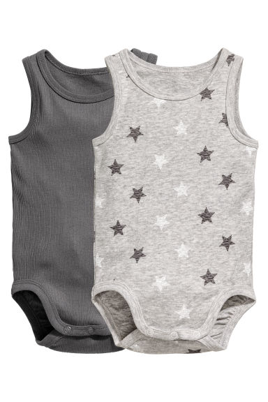 2-pack sleeveless bodysuits - Grey - Kids | H&M CN