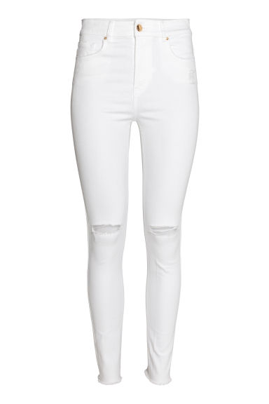 Skinny High Ankle Jeans - Wit denim - DAMES | H&M NL