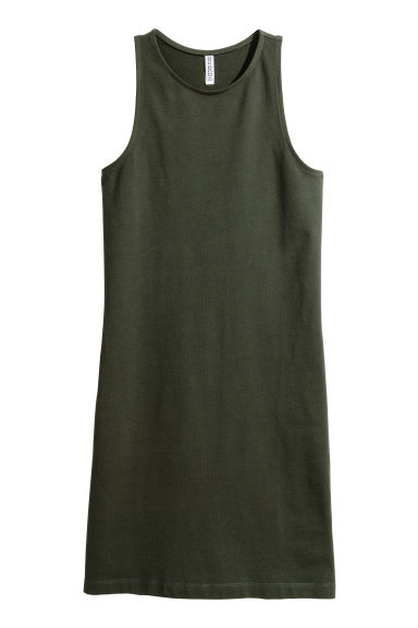 Sleeveless jersey dress - Dark green -  | H&M CN
