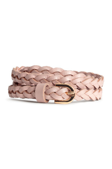 Braided leather belt - Powder pink - Ladies | H&M