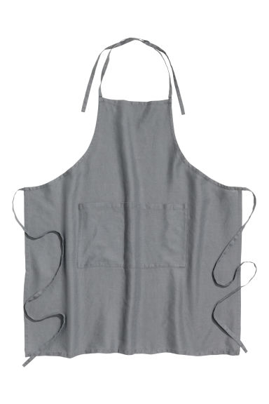 Washed linen apron - Grey -  | H&M GB