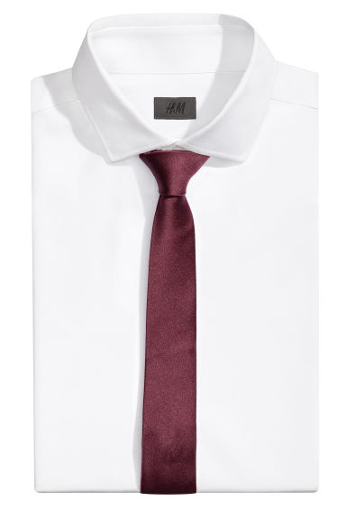 Satin tie - Burgundy - Men | H&M