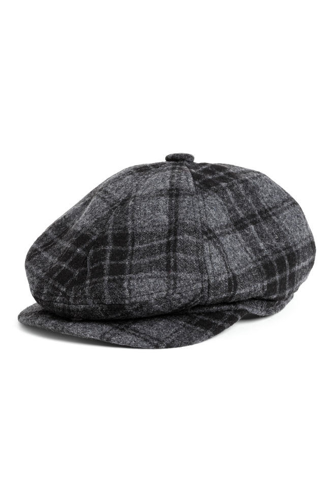 Flat Cap - Dark grey Checked - Men  240a290375e