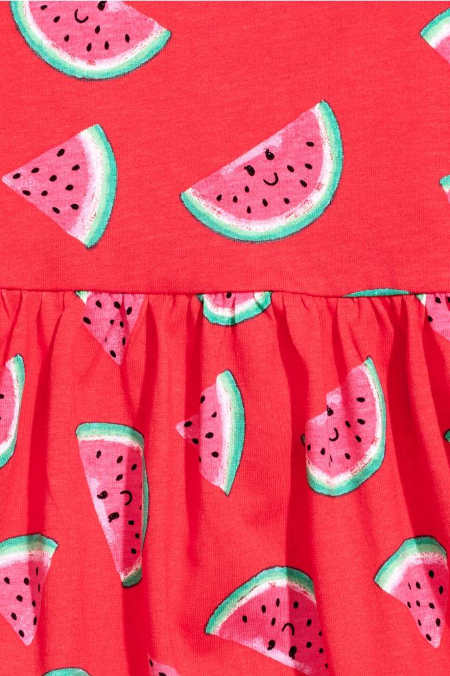 a39a625a96fc ... Patterned Jersey Dress - Red/Watermelon - Kids   H&M ...