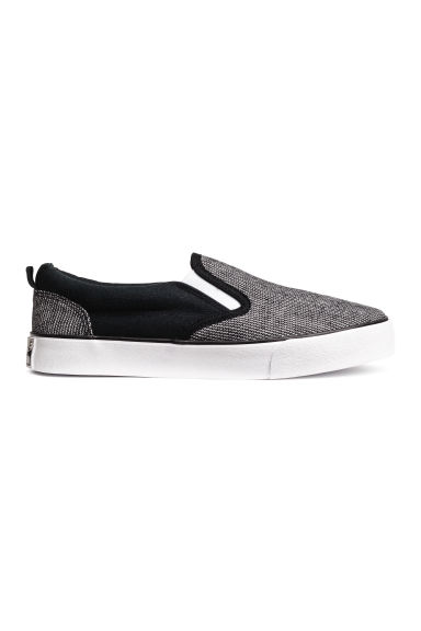 Slip-on canvas trainers - Black/White - Kids | H&M