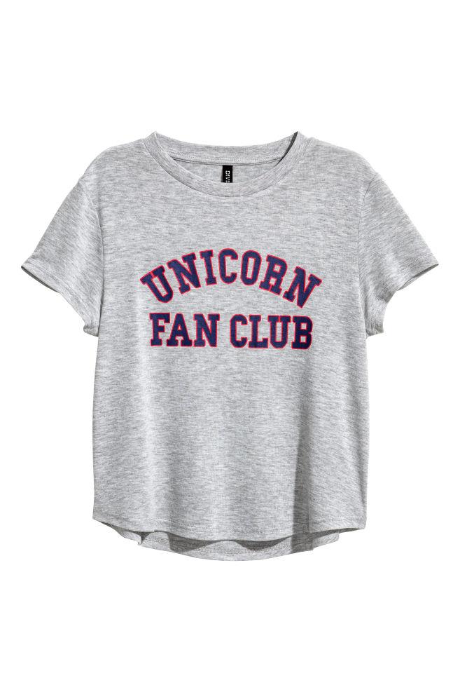 63d18c11 T-shirt with a motif - Grey marl - Ladies | H&M ...