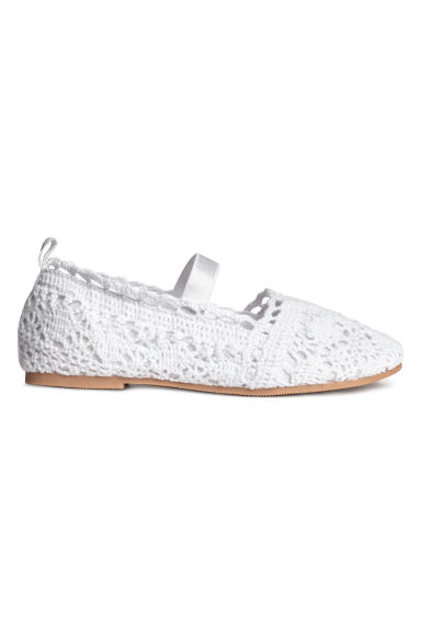 Lace-patterned ballet pumps - White - Kids | H&M