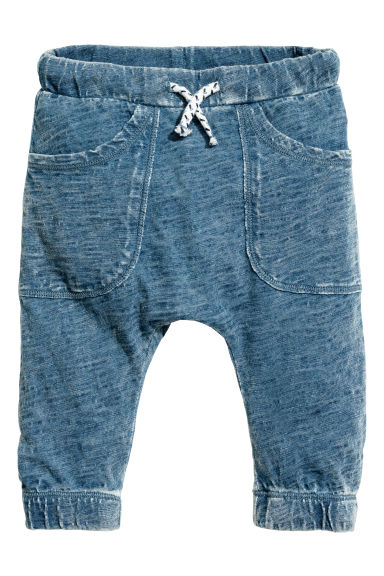 Slub jersey trousers - Blue washed out - Kids | H&M CN